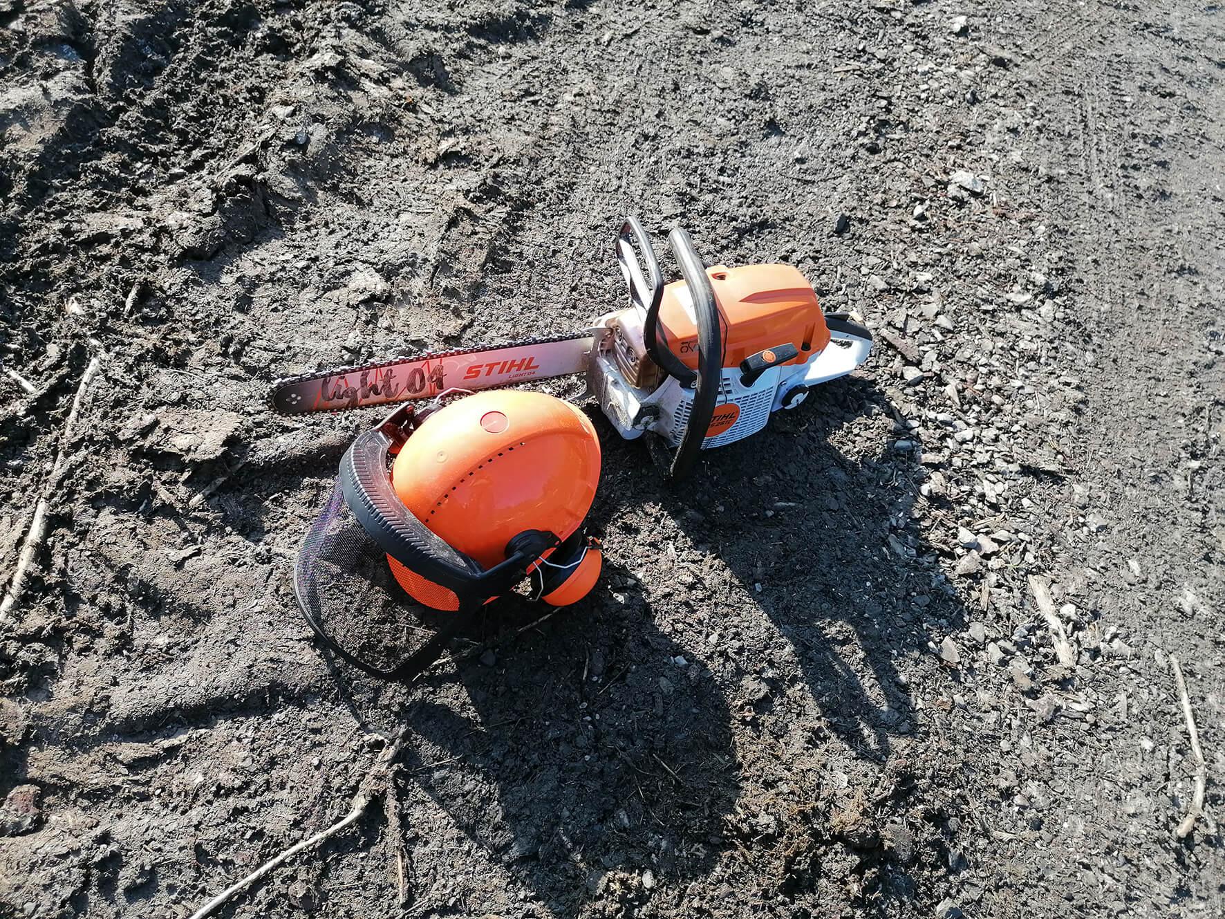 Motorsäge und Helm liegen auf dem Boden in der Wisent-Wildnis
