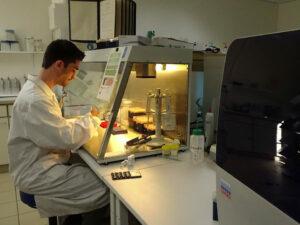 Gerrit Wehrenberg bei der Laborarbeit (Foto: Anouk Ebenezer)